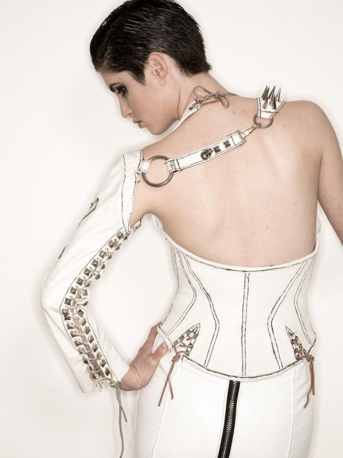 White Gladiator Arm, Corset, Skirt back